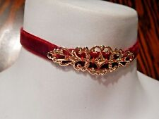 CRIMSON VELVET RIBBON CHOKER gold filigree rococo baroque necklace band red 5E