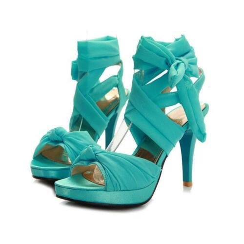 Womens Ladies Ankle Lace Up Strappy High Heels Sandals Peep toe Pumps Plus Size