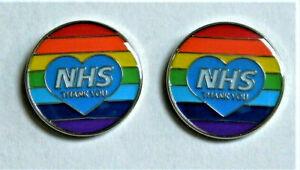 2 x NHS Rainbow Thank You Heart Enamel Lapel Pin Badge NATIONAL HEALTH SERVICE