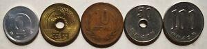 Japan Hirohito Showa (昭和) 5 pcs set coin (1 Yen to 100 Yen)
