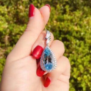 Damen-Halskette-Silber-925-Blau-Topas-Edelstein-Silber-Kette-Anhaenger-Geschenk
