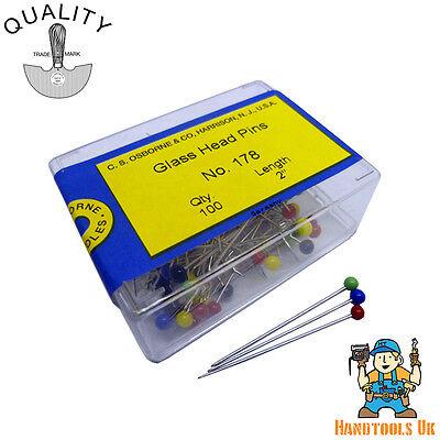 Osborne Glass Headed Pins 32mm Assorted Colours Osborne No.178-100 Box C.S