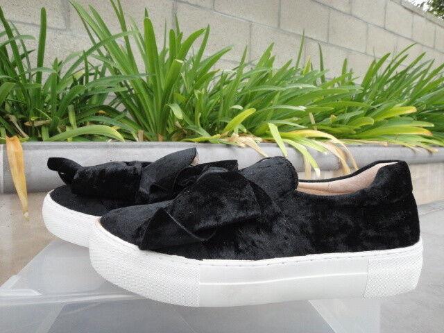 J Slides ANNABELLE Black Velvet Bow Round Toe, Platform Sneakers Wmns US Sz 7M