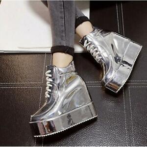 Fashion-Women-039-s-Shiny-Shoes-Platform-Wedge-Heels-Round-Toe-Lace-Up-Creepers