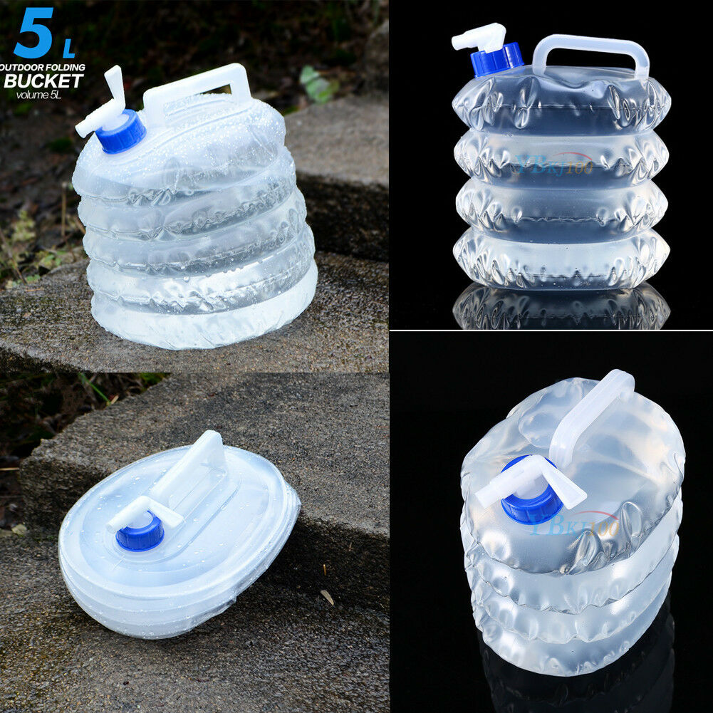 5//10L Camping Foldable Water Storage Bottle Collapsible Bag Container Carrier