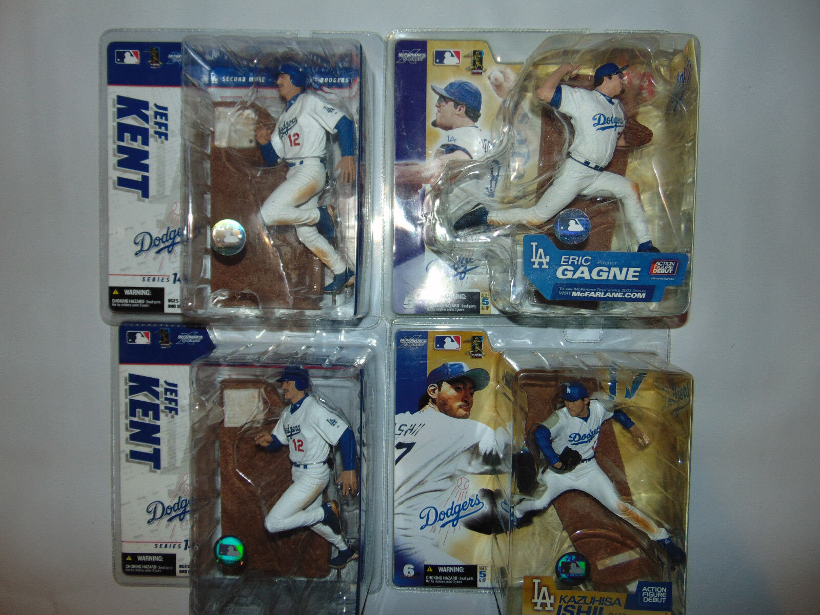 4) LOS ANGELES Dodgers ALL Weiß JERSEY Jeff Kent/ISHII/GAGNE Lot Set Mcfarlane
