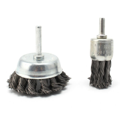 2Pcs 25//50mm Stainless Steel Wire Brush For Metal Cleaning Twist Knot Steel Tool