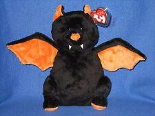 Ty Pluffies Moonstruck Black Orange Bat Stuffed Animal Soft Tylux Baby Gift