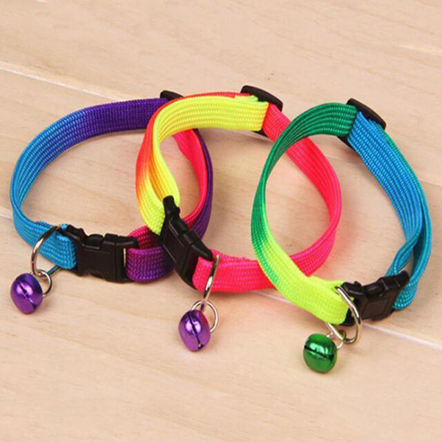 Fancy Rainbow Collar With Small Bell for Pet Dog Puppy Cat Adjustable_Collar