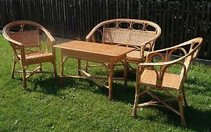 Muebles de jard n juego sillas mesa exterior patio invernadero mimbre natural - Muebles de mimbre ...