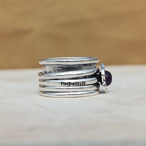 Amethyst Ring 925 Sterling Silver Spinner Ring Meditation Statement Jewelry A270