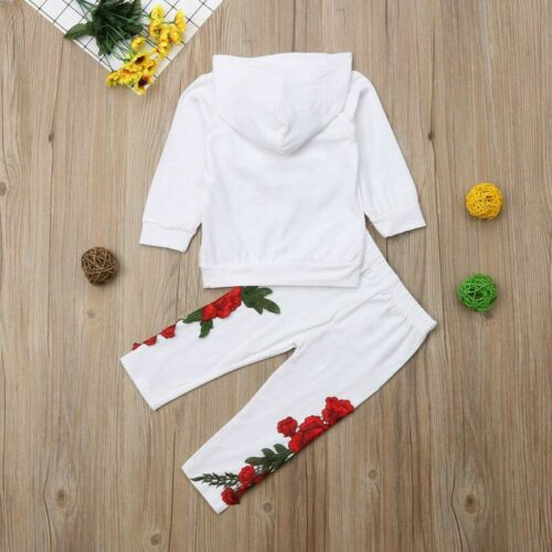 Fashion Toddler Baby Girl Floral Hooded Top Long Pants Outfits Clothes Tracksuit