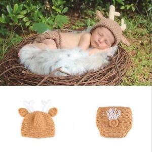 Crochet Newborn Photography Boys Girls Deer Knit Hat Cap Baby Photo Props Outfit