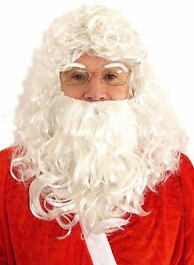 Mens Father Christmas Santa Hair - Beard Wig Eyebrows Fancy Dress Costume Outfit