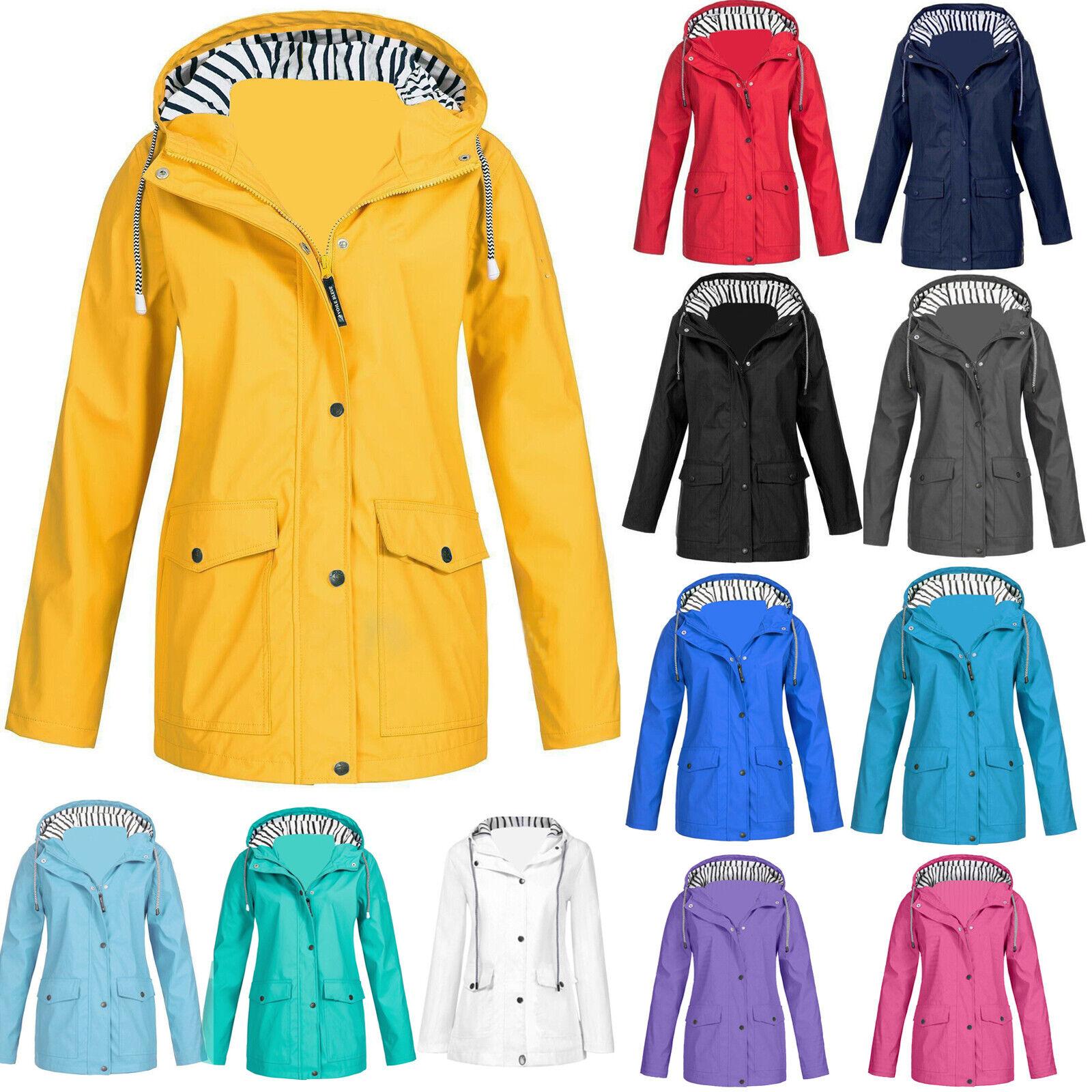 Womens Waterproof Raincoat Casual Jacket Wind Breaker Coat Forest Hiking Ladies