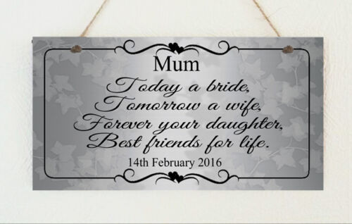 Groom Gift Wedding Shabby Present Personalised Chic Plaque Mother Of The Bride