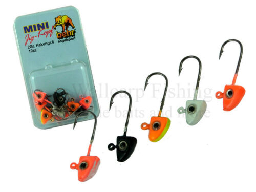 Behr Fishing Mini 2g Jigkopf Sortiment  10 Stück in verschiedenen Farben