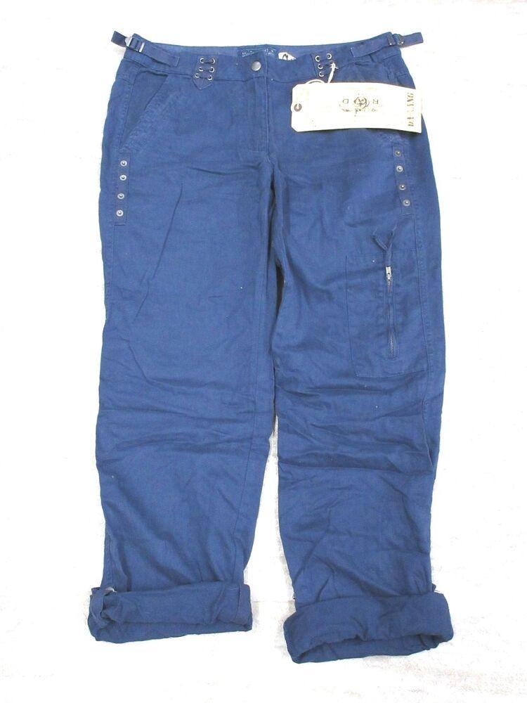 Neuf Da-nang Femmes Pantalon / Corsaire Cheville Ajustable Poches Eventide