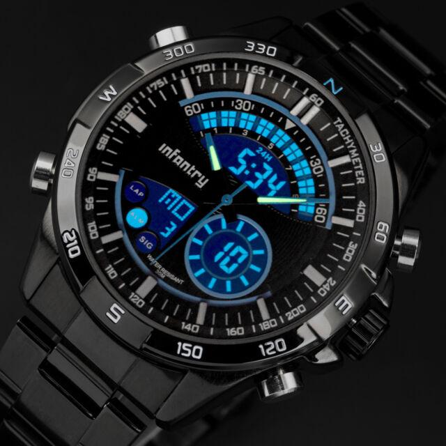 INFANTRY Mens Digital Quartz Wrist Watch Chronograph Army Black Stainless Steel