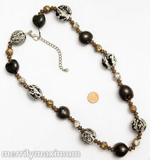 Chico's Signed Necklace Tri Tone Long Chunky Beads Black White Silver Gold Bronz