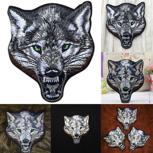 Animal wolf head iron on patches Sew-on embroidered patch motif applique Fad.