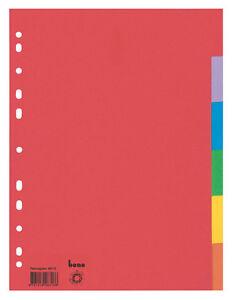 Bene Ordner Register blanko farbig Karton DIN A4 6 teilig oder 12 teilig