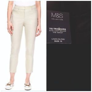 Ladies-Linen-Trousers-Ankle-Grazer-Cotton-Cropped-Tapered-Slim-Fit-Crop-Store