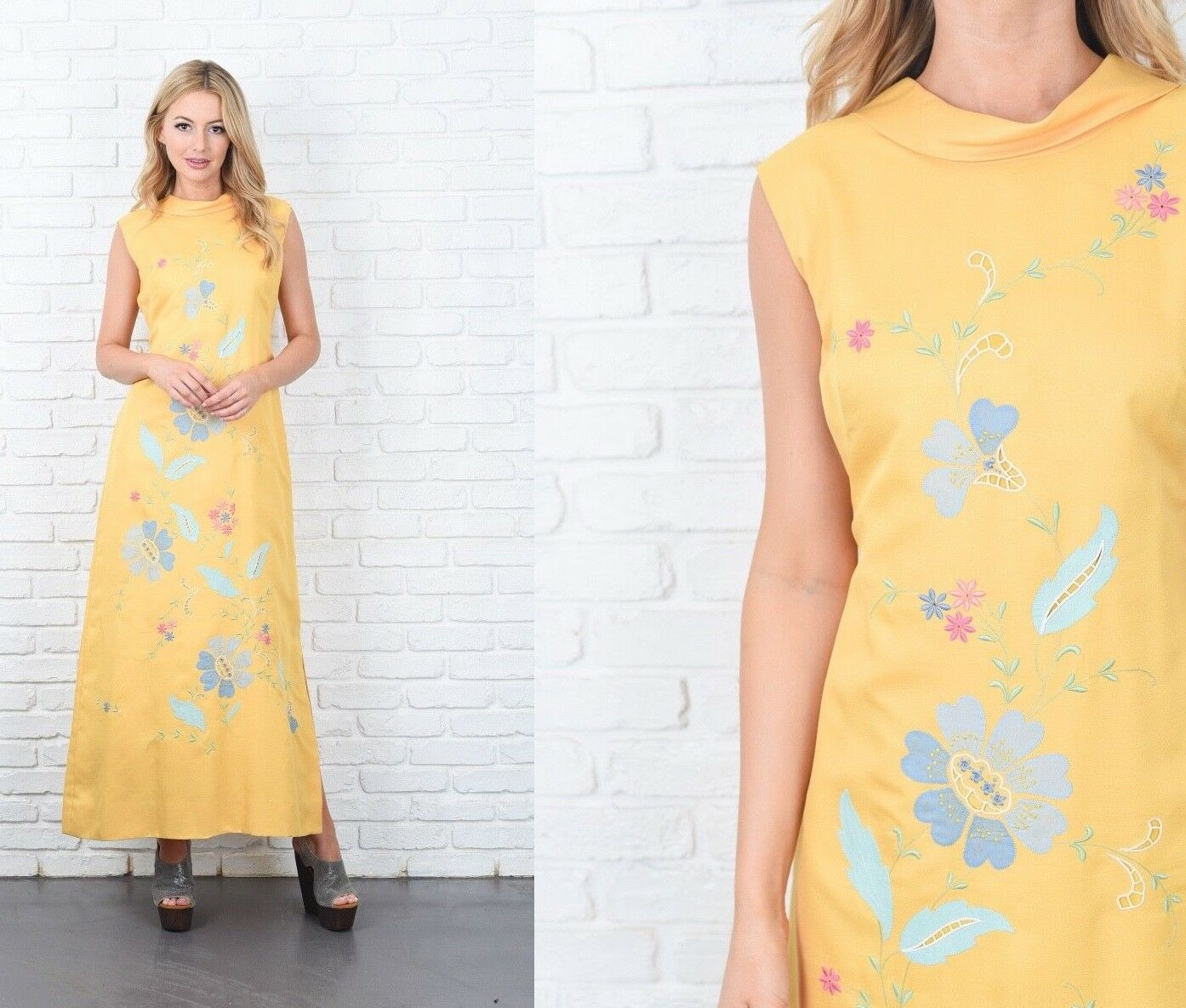 Vintage 70s Yellow Maxi Dress Embroidered Flower Floral Cutout A Line Medium M