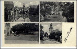 BAD-BERKA-Thueringen-AK-1920-30-Mehrbild-AK-ua-Dorfplatz-Bruecke-Kirche-Fluss