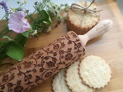 Laser engraved rolling pins for cookies decorating with Dandelion flower pattern Small size Textured cookie baking mold by OmaMarta Wooden embossed rolling pin