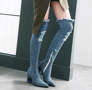 TOP Denim Stiefel Damen Overkneestiefel Spitz Zehe Zehe Spitz Jeans Schuhe ... e2537a