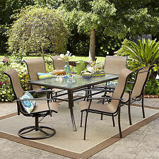 Harrison 7 Piece Outdoor Dining Set Patio Garden Table Brown Seats *Limited