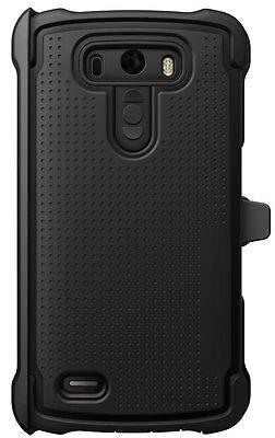Ballistic LG G3 MAXX Tough Jacket Case w/Holster Belt Clip BLACK *NO Protector*