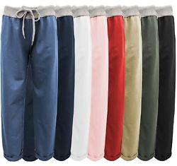 Sweathose Damen sportliche Baumwollhose Jogpants Gummizug + Kordel uni bunt 38+