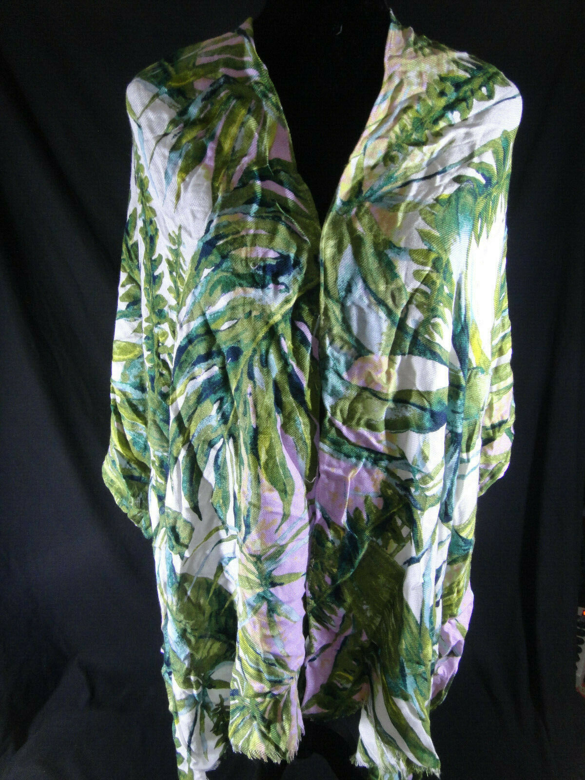 INC International Concepts Scarf Wrap Cover-up Tropical Palms Green Retail $36