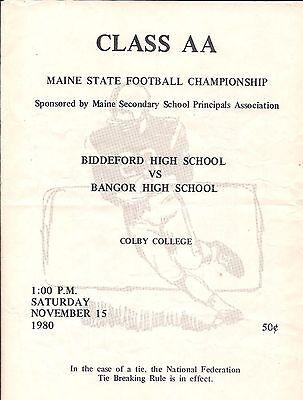 Biddeford Maine Vs Bangor Maine High School Aa Championship Program 1980 Ebay