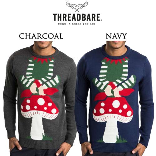 Mens Threadbare Novelty Design Elf Toadstool Christmas Jumper Festive  Sweater
