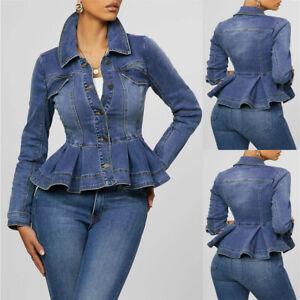 Women-Slim-Fit-Denim-Tunic-Jacket-Ruffled-Hem-Jeans-Coat-Outwear-Long-Sleeves