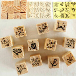 12Pcs-set-Vintage-Flower-Lace-Wooden-Rubber-Stamp-Letters-Diary-Craft-X3K2