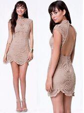 NWT Bebe brown nude crochet lace open back mock neck mini top dress XS XXS 0