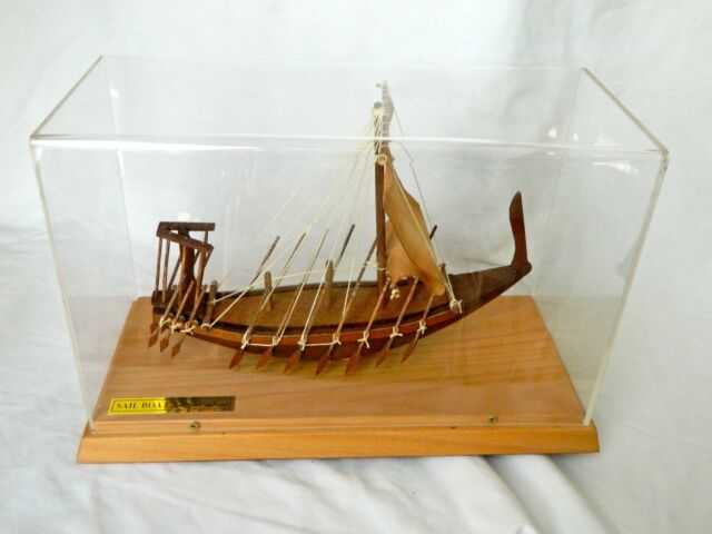 "Egyptian Wood Collectible Handmade Sail Boat Replica 13"" X 6"" X 8.5"" (NEW!!!)"