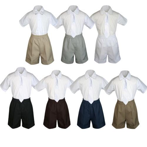 3pc Set Boy Toddler Formal White Clip on Necktie Black Dark Khaki Shorts S-4T