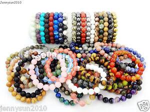Handmade-10mm-Natural-Gemstone-Round-Beads-Stretchy-Bracelet-Healing-Reiki