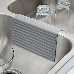 silicone double sink divider protector saddle mat kitchen dish safe durable gray ebay. Black Bedroom Furniture Sets. Home Design Ideas