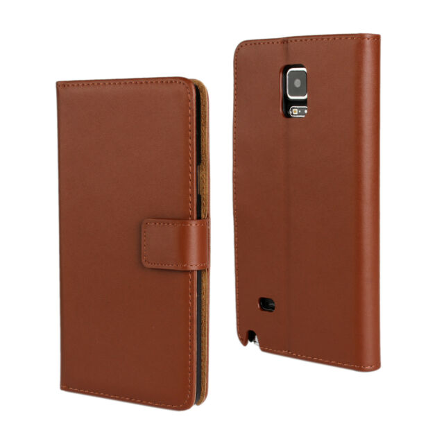 Brown Genuine Leather Cash Card Wallet Case Cover For Samsung Galaxy Note 4