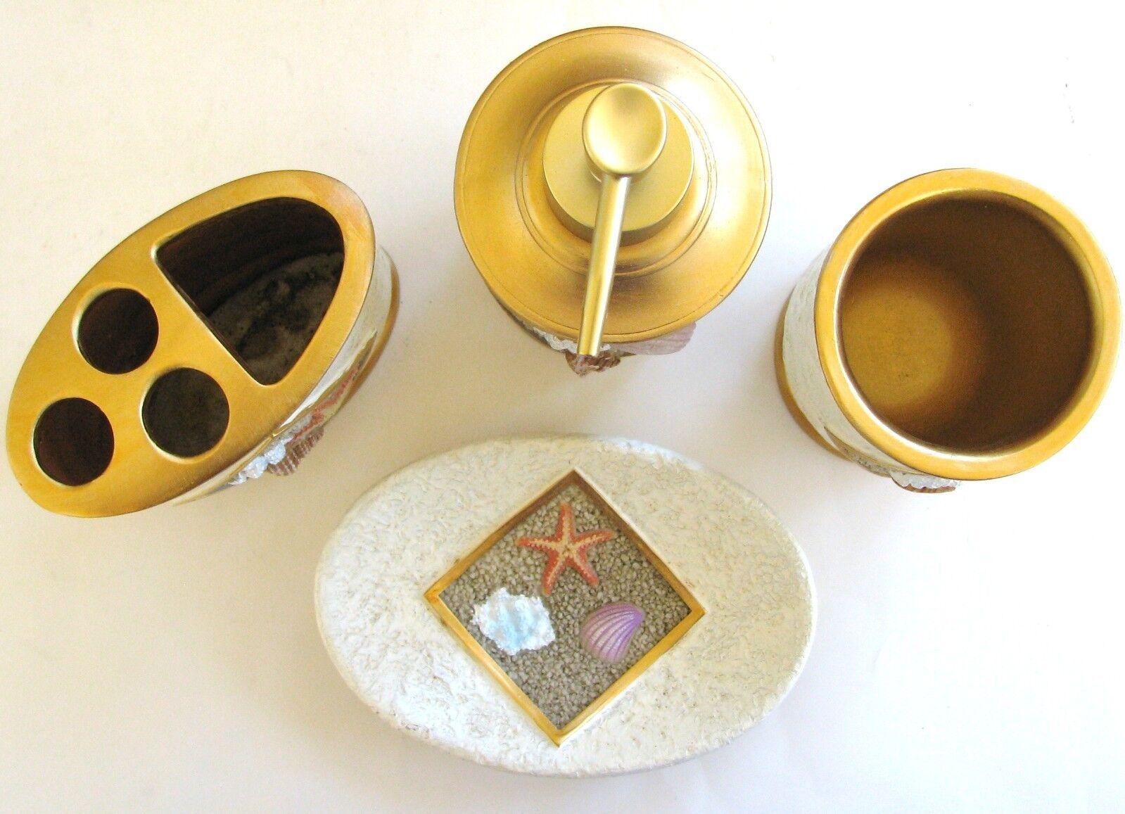 New-Gold  6pc Blanc Plage Thème 6pc  Set Distributeur de Savon  Plat  Brosses à 8e2504
