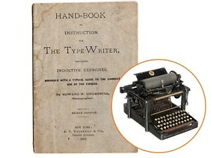 Earliest 1883 REMINGTON No.4 TYPEWRITER TOUCH TYPING GUIDE Vtg Book Antique