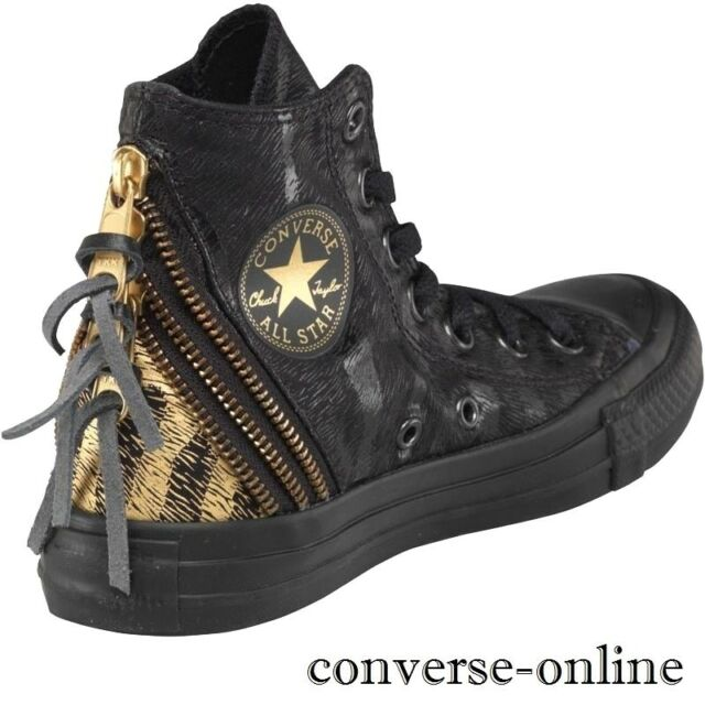 843244109c05b Women s CONVERSE All Star Black TRIPLE ZIP HIGH TOP Trainers Boots SIZE UK  3.5