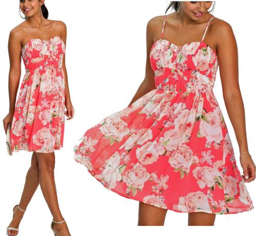 Tolles Chiffon Kleid Sommerkleid Blumen hellpink Größen 34 bis 48 NEU 943774
