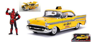 Marvel Deadpool With 1957 Taxi Chevy Bel Air Yellow 1:24 Model Jada Toys